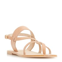 Dune Luccia Multi Strap Greek Flat Sandal Tan