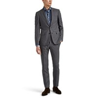 Cifonelli Overplaid Worsted Virgin Wool Two Button Suit Gray