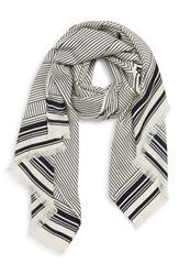 Tory Burch Fine Lines Logo Scarf Ivory Multi