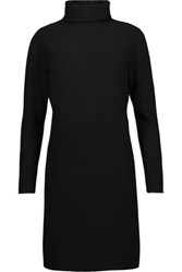 Magaschoni Ribbed Cashmere Turtleneck Sweater Dress Black