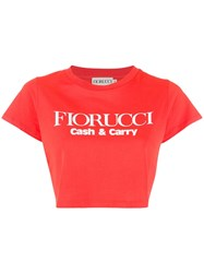 Fiorucci Logo Cropped T Shirt Red