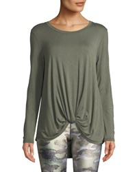Terez Twist Front Long Sleeve Jersey Top Green