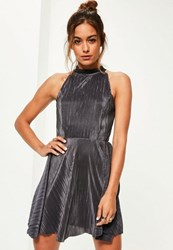 Missguided Grey Pleated High Neck Skater Dress