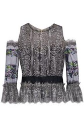 Marchesa Cold Shoulder Embroidered Tulle Paneled Metallic Lace Top Lavender