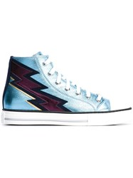 Roberto Cavalli Lightning Bolt Patch Sneakers Blue