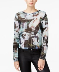 Bar Iii Floral Print Knit Top Only At Macy's Black Combo