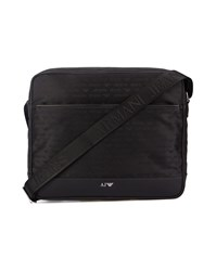 Armani Jeans Black Aj All Over Logo Nylon Front Zip Messenger Bag
