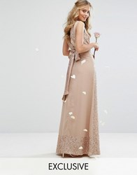 Maya Embellished Maxi Dress With Bow Back Mink Brown