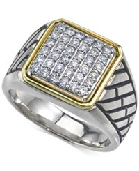 Esquire Men's Jewelry Diamond Two Tone Ring 3 4 Ct. T.W. In Sterling Silver And 14K Gold Created For Macy's White