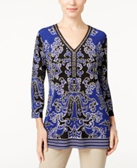 Jm Collection Petites Petite Printed Embellished Tunic Only At Macy's Antique Purple Combo