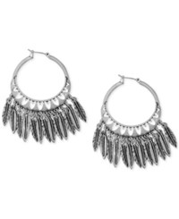 Lucky Brand Silver Tone Feather Hoop Earrings