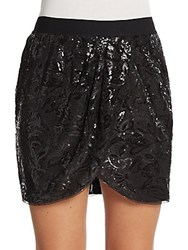 Bcbgmaxazria Sequined Mini Tulip Skirt Black