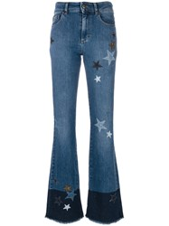 Red Valentino Star Patch Flared Jeans Women Cotton Spandex Elastane 28 Blue