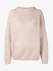 Acne Studios Dramatic Mohair Wool Blend Sweater Pink