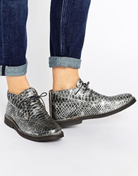 Selected Femme Lulu Silver Metallic Leather Warm Lined Ankle Boots Silverpython