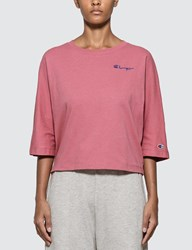 Champion Reverse Weave Back Script Oversized Cropped T Shirt Pink