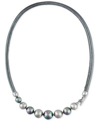 Majorica Silver Tone Gray Imitation Pearl Leather Collar Necklace