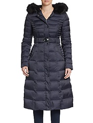 Laundry By Shelli Segal Faux Fur Trimmed Printed Puffer Jacket Navy