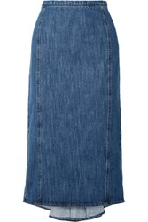 Michael Kors Collection Pleated Denim Midi Skirt Blue