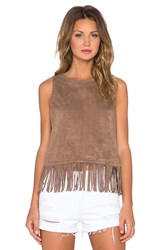 1. State Fringe Hem Faux Suede Tank Top Brown
