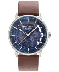 Kenneth Cole New York Men's Automatic Skeleton Brown Leather Strap Watch 42Mm Silver