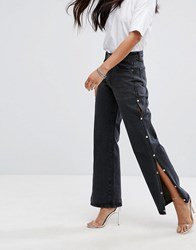 Liquor N Poker Wide Leg Jean With Split Seam And Pearl Detail Washed Black