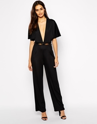 Oh My Love Kimono Sleeve Belted Jumpsuit With Wide Leg Black