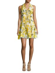 Molly Bracken Floral Print Pleated Mini Dress White Yellow