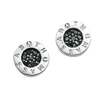 Thomas Sabo Glam And Soul Zirconia Pave Disc Stud Earrings Silver Black