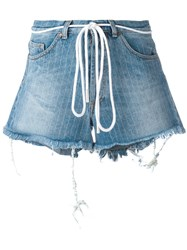 Off White Drawstring Denim Shorts Women Cotton Polyester 27 Blue