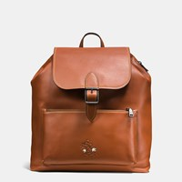 Coach Mickey Rainger Backpack In Glovetanned Leather Dark Saddle