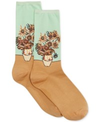 Hot Sox Women's Trouser With Artist Print Socks Mint Sunflowers