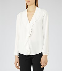 Reiss Lolita Womens Ruffle Front Blouse In White