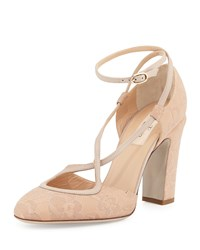 Valentino Lace Ankle Wrap High Heel Pump Nude