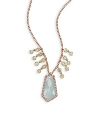 Meira T Diamond Milky Aquamarine 14K Rose Gold And 14K Yellow Gold Pendant Necklace