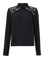 Lost Ink Long Sleeved Chevron Lace High Neck Blouse Black