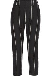Brunello Cucinelli Cropped Striped Cotton Skinny Pants Black