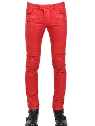 Balmain 18Cm Geometric Waxed Denim Biker Jeans Red