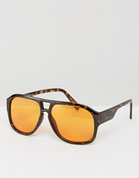 Asos Tort Aviator Sunglasses With Orange Coloured Lens Tort Brown