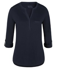 Olsen Delicate Embroidery Detail Top Navy