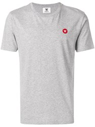 Wood Wood Embroidered Logo T Shirt Grey