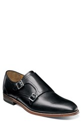 Stacy Adams M2 Plain Toe Double Strap Monk Shoe Black Leather