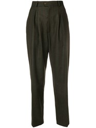 Yves Saint Laurent Vintage Pinstriped High Rise Tapered Trousers Green