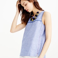 J.Crew Tall Seamed Shell In Crosshatch Linen