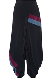 Stella Mccartney Wrap Effect Silk Crepe De Chine Tapered Pants Midnight Blue