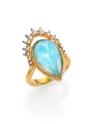 Alexis Bittar Elements Gilded Muse D'ore Amazonite And Crystal Spiky Pear Ring Gold Aqua