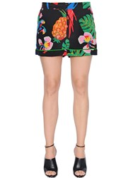 Valentino Tropical Print Silk Crepe Shorts