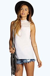 Boohoo Lace High Neck Woven Top White