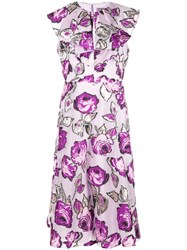 Lela Rose Floral Print Dress Purple