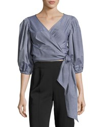 Elizabeth And James Farrah Side Tie Wrap Cotton Top Indigo